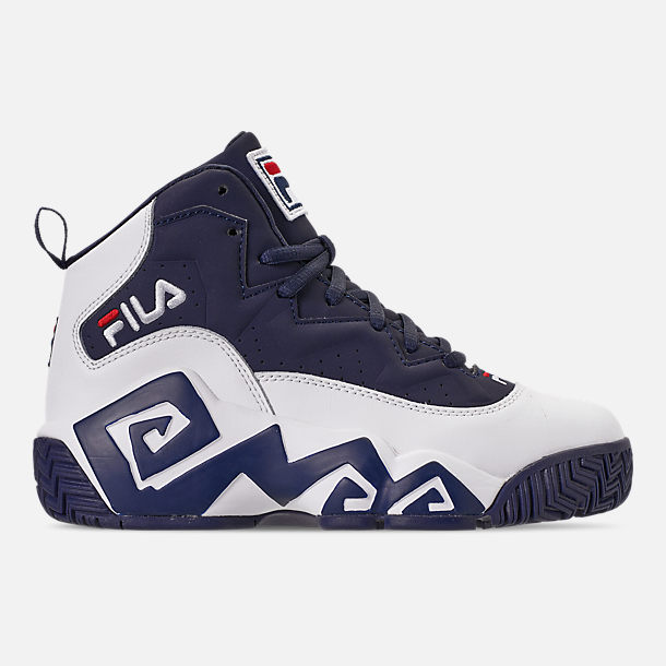 Right view of Boys' Big Kids' Fila MB Basketball Shoes in Navy/White