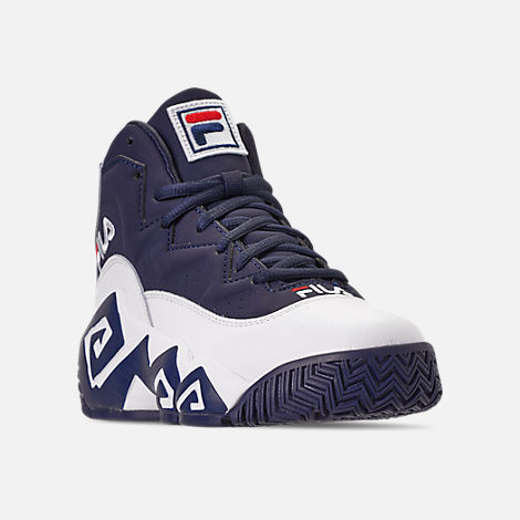 Three Quarter view of Boys' Big Kids' Fila MB Basketball Shoes in Navy/White