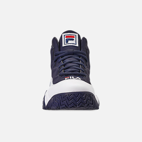 Front view of Boys' Big Kids' Fila MB Basketball Shoes in Navy/White