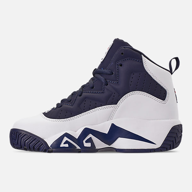 Left view of Boys' Big Kids' Fila MB Basketball Shoes in Navy/White