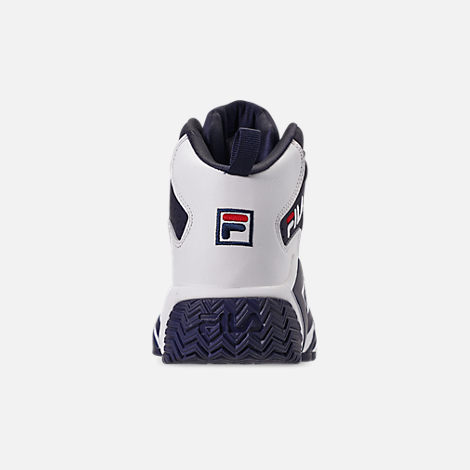 Back view of Boys' Big Kids' Fila MB Basketball Shoes in Navy/White