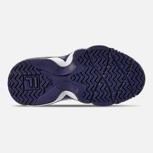 Bottom view of Boys' Big Kids' Fila MB Basketball Shoes in Navy/White