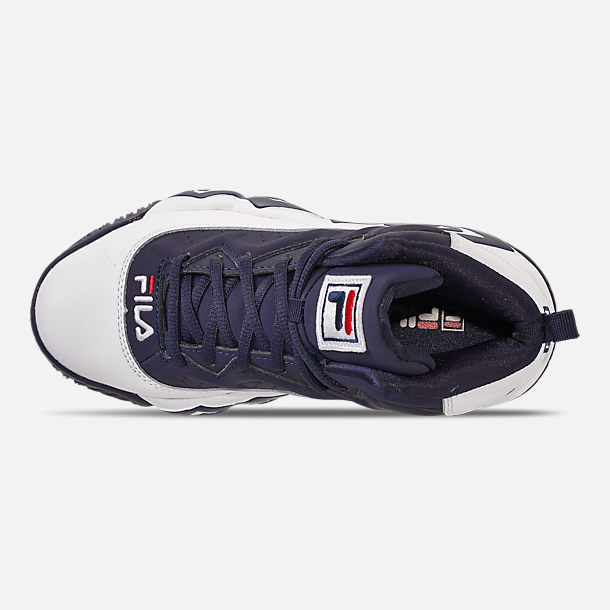Top view of Boys' Big Kids' Fila MB Basketball Shoes in Navy/White