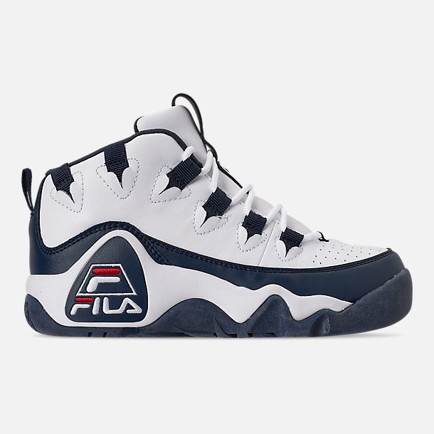 Right view of Boys' Big Kids' Fila Grant Hill 1 Basketball Shoes in White/Fila Navy/Fila Red