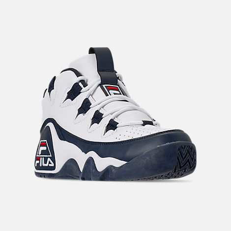 Three Quarter view of Boys' Big Kids' Fila Grant Hill 1 Basketball Shoes in White/Fila Navy/Fila Red