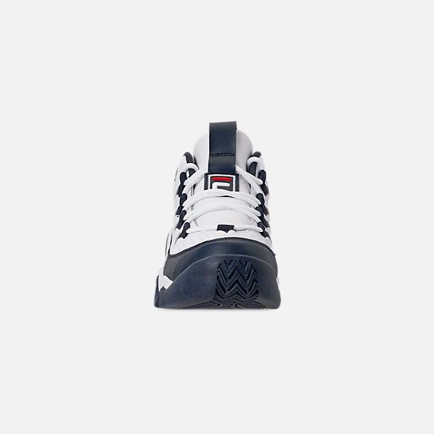 Front view of Boys' Big Kids' Fila Grant Hill 1 Basketball Shoes in White/Fila Navy/Fila Red