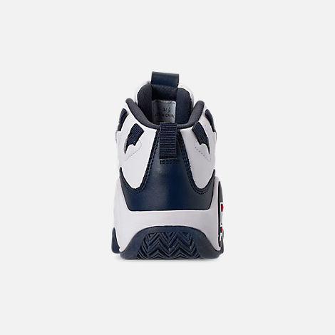 Back view of Boys' Big Kids' Fila Grant Hill 1 Basketball Shoes in White/Fila Navy/Fila Red