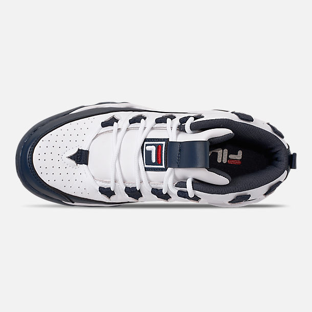Top view of Boys' Big Kids' Fila Grant Hill 1 Basketball Shoes in White/Fila Navy/Fila Red