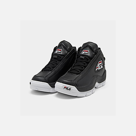 Three Quarter view of Boys' Big Kids' Fila Grant Hill 2 Basketball Shoes in Black/White/Fila Red