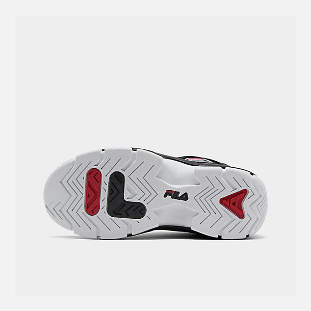Bottom view of Boys' Big Kids' Fila Grant Hill 2 Basketball Shoes in Black/White/Fila Red