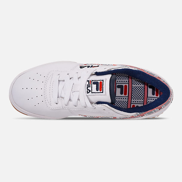 Top view of Boys' Big Kids' Fila Original Fitness Casual Shoes in White