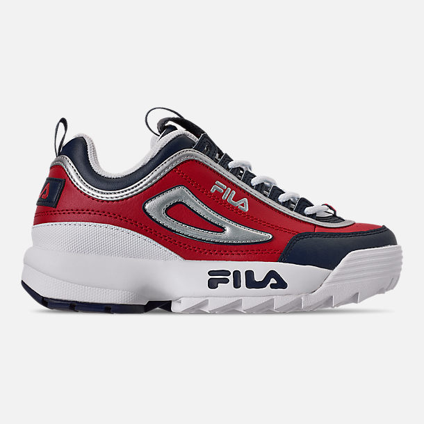 Right view of Boys' Big Kids' Fila Disruptor Casual Shoes in Fila Red/Fila Red/White