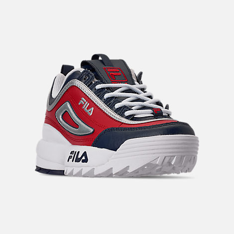 Three Quarter view of Boys' Big Kids' Fila Disruptor Casual Shoes in Fila Red/Fila Red/White