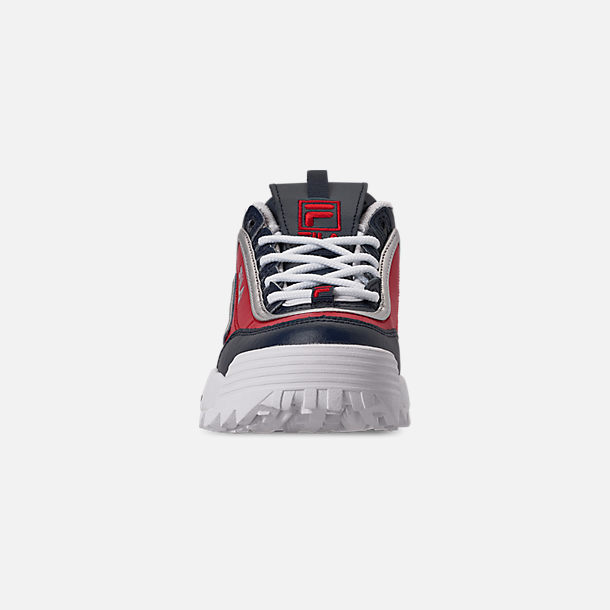 Front view of Boys' Big Kids' Fila Disruptor Casual Shoes in Fila Red/Fila Red/White