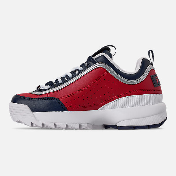 Left view of Boys' Big Kids' Fila Disruptor Casual Shoes in Fila Red/Fila Red/White