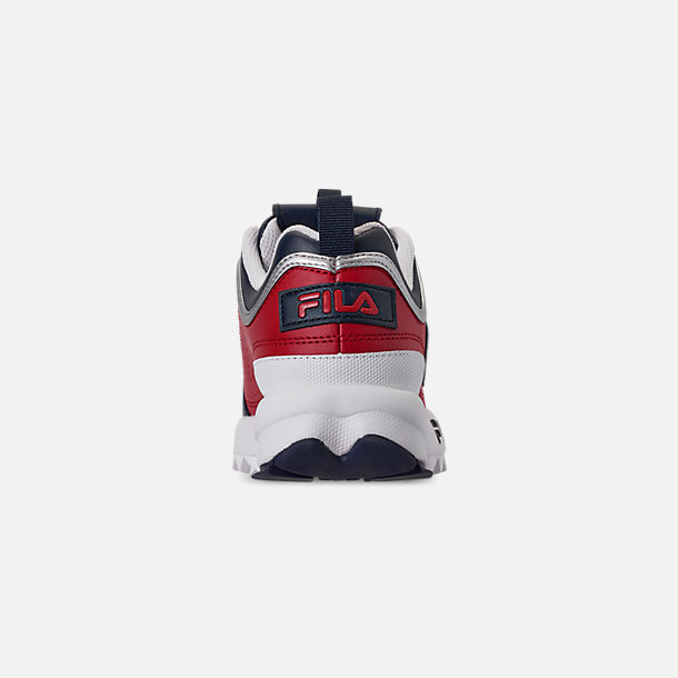 Back view of Boys' Big Kids' Fila Disruptor Casual Shoes in Fila Red/Fila Red/White