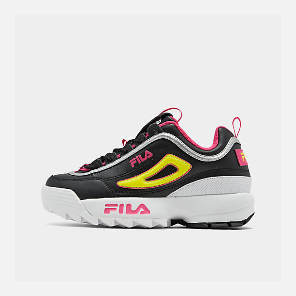 Right view of Boys' Big Kids' Fila Disruptor Casual Shoes in Black/Acid Lime/Sparkling Cosmo