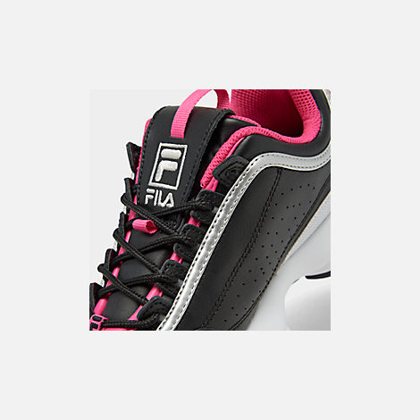Front view of Boys' Big Kids' Fila Disruptor Casual Shoes in Black/Acid Lime/Sparkling Cosmo