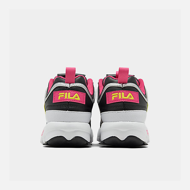 Left view of Boys' Big Kids' Fila Disruptor Casual Shoes in Black/Acid Lime/Sparkling Cosmo