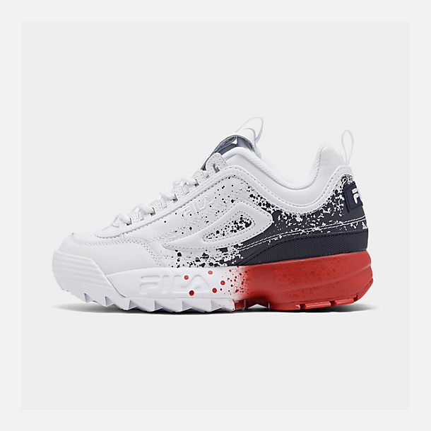 Right view of Boys' Big Kids' Fila Disruptor Splatter Casual Shoes in White/Red/Blue Splatter