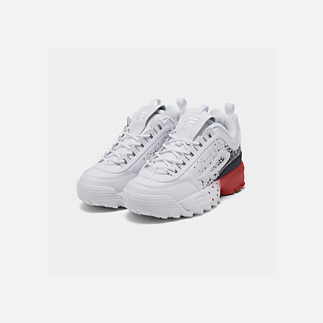 Three Quarter view of Boys' Big Kids' Fila Disruptor Splatter Casual Shoes in White/Red/Blue Splatter