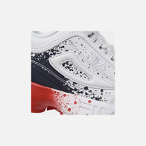 Front view of Boys' Big Kids' Fila Disruptor Splatter Casual Shoes in White/Red/Blue Splatter