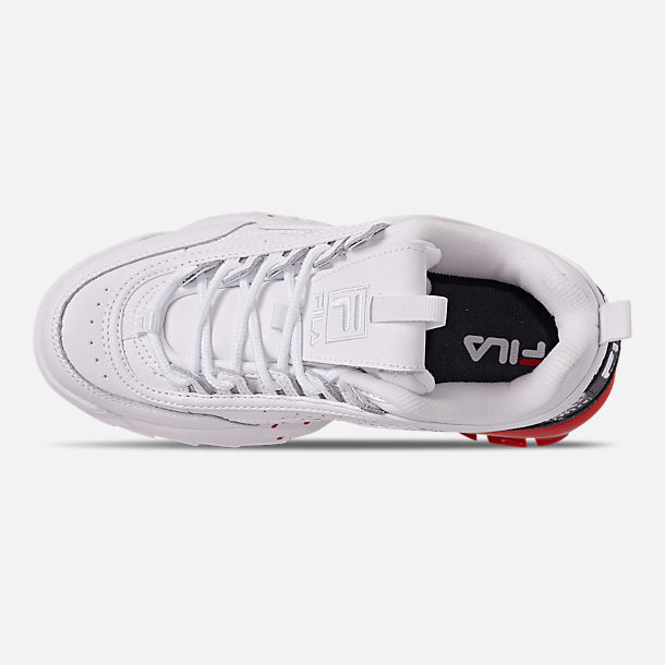 Top view of Boys' Big Kids' Fila Disruptor Splatter Casual Shoes in White/Red/Blue Splatter