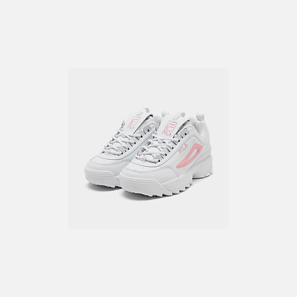 Three Quarter view of Girls' Little Kids' Fila Disruptor Metallic Flag Casual Shoes in White/Coral Blush/White