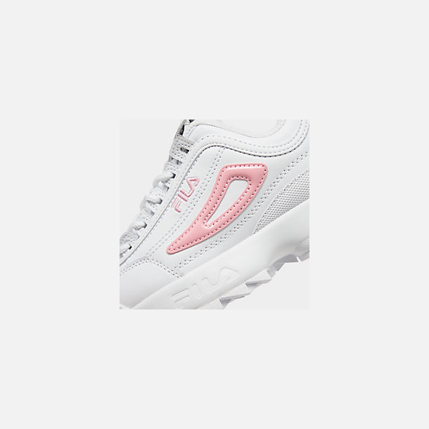 Front view of Girls' Little Kids' Fila Disruptor Metallic Flag Casual Shoes in White/Coral Blush/White