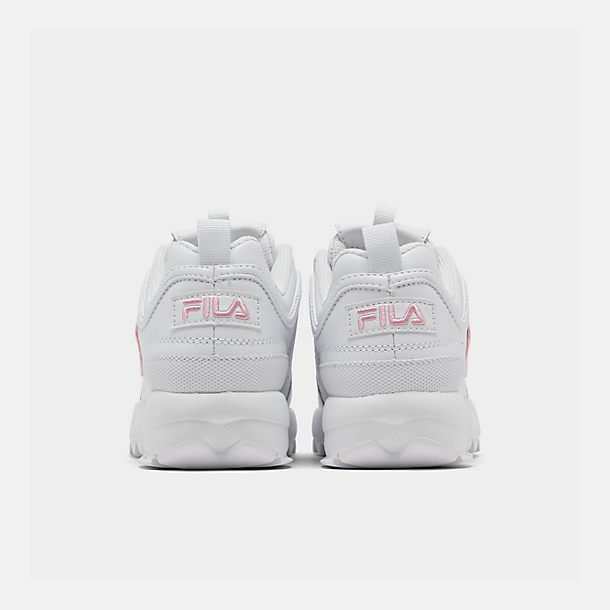 Left view of Girls' Little Kids' Fila Disruptor Metallic Flag Casual Shoes in White/Coral Blush/White