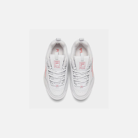 Back view of Girls' Little Kids' Fila Disruptor Metallic Flag Casual Shoes in White/Coral Blush/White