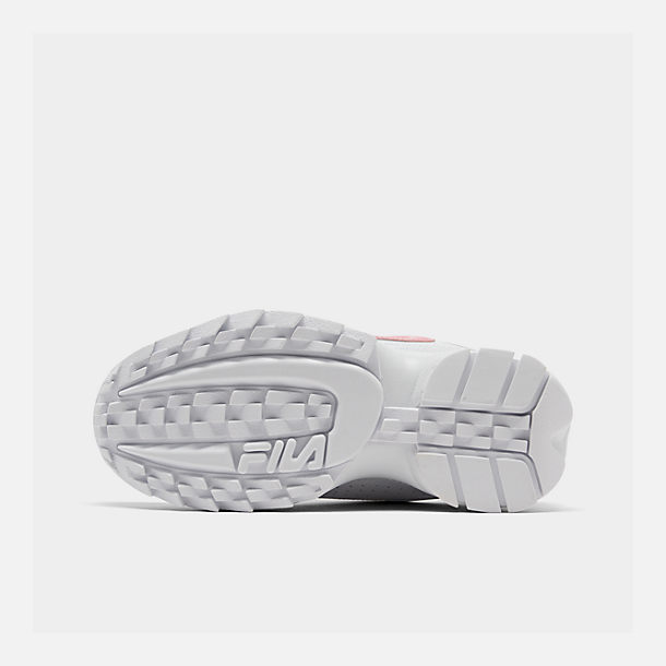 Bottom view of Girls' Little Kids' Fila Disruptor Metallic Flag Casual Shoes in White/Coral Blush/White