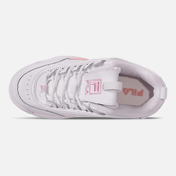 Top view of Girls' Little Kids' Fila Disruptor Metallic Flag Casual Shoes in White/Coral Blush/White