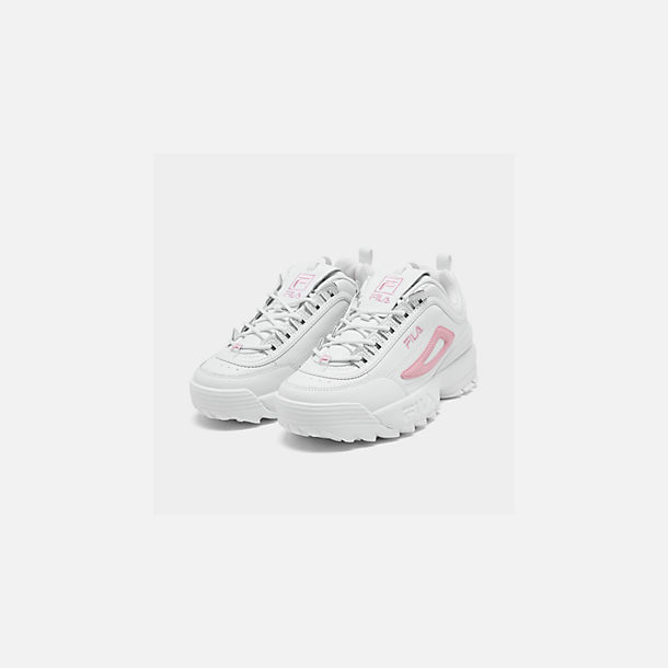 Three Quarter view of Girls' Big Kids' Fila Disruptor Metallic Flag Casual Shoes in White/Coral Blush/White