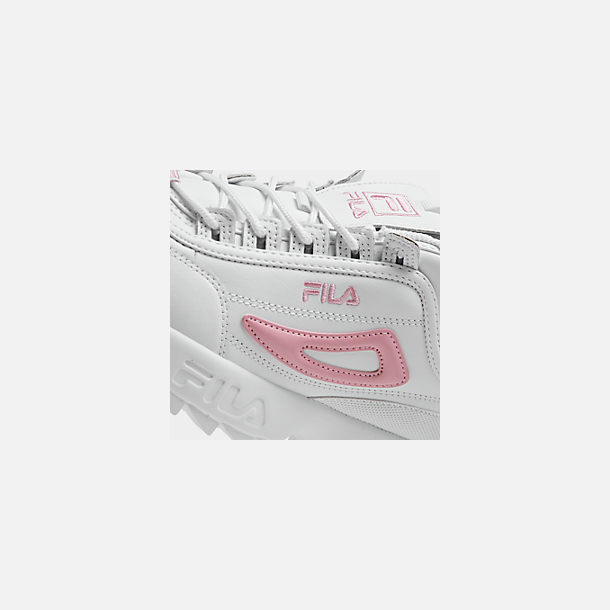 Front view of Girls' Big Kids' Fila Disruptor Metallic Flag Casual Shoes in White/Coral Blush/White