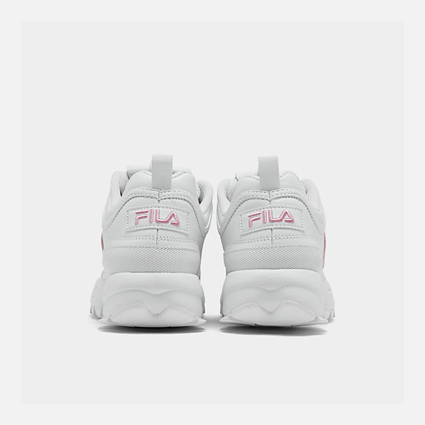 Left view of Girls' Big Kids' Fila Disruptor Metallic Flag Casual Shoes in White/Coral Blush/White