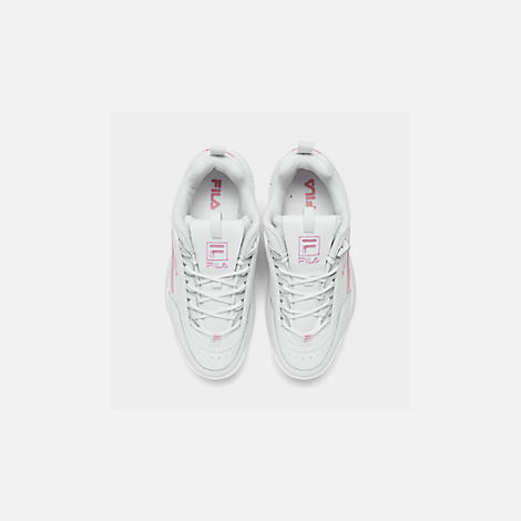 Back view of Girls' Big Kids' Fila Disruptor Metallic Flag Casual Shoes in White/Coral Blush/White