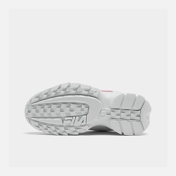 Bottom view of Girls' Big Kids' Fila Disruptor Metallic Flag Casual Shoes in White/Coral Blush/White
