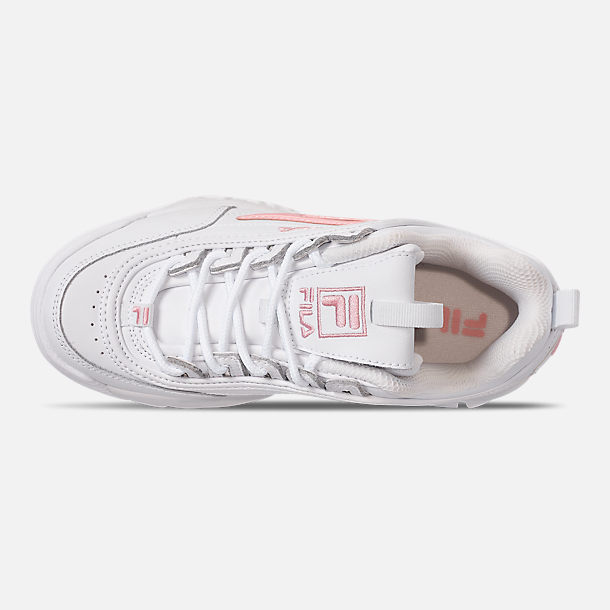Top view of Girls' Big Kids' Fila Disruptor Metallic Flag Casual Shoes in White/Coral Blush/White