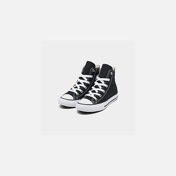 Three Quarter view of Little Kids' Converse Chuck Taylor Hi Top Casual Shoes in Black