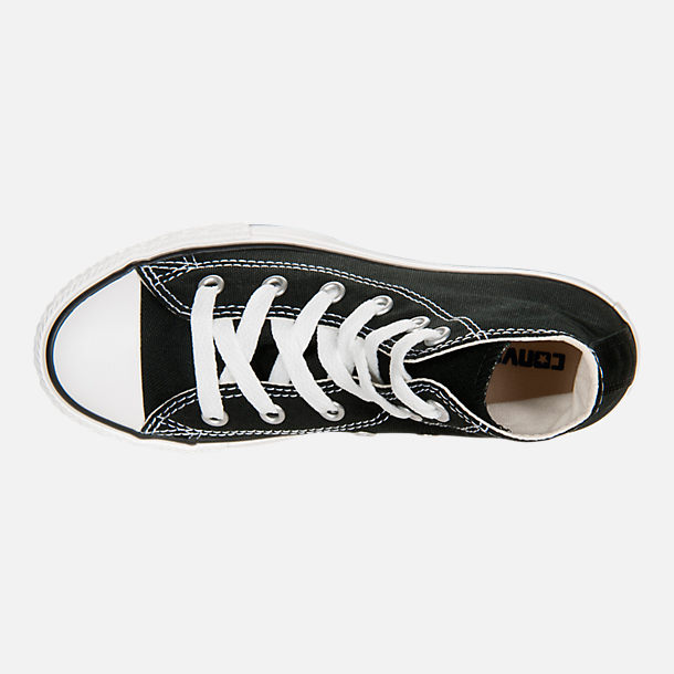 Top view of Little Kids' Converse Chuck Taylor Hi Top Casual Shoes in Black
