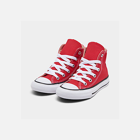 Three Quarter view of Boys' Preschool Converse Chuck Taylor Hi Casual Shoes in Red