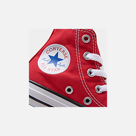 Front view of Boys' Preschool Converse Chuck Taylor Hi Casual Shoes in Red