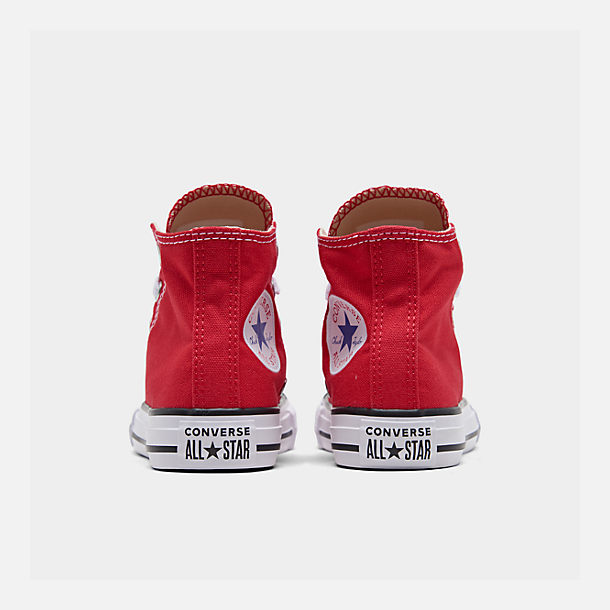 Left view of Boys' Preschool Converse Chuck Taylor Hi Casual Shoes in Red