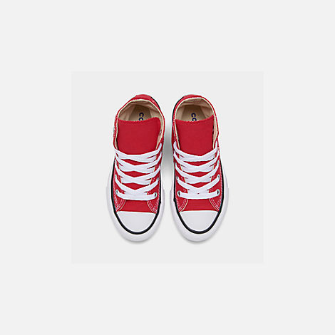 Back view of Boys' Preschool Converse Chuck Taylor Hi Casual Shoes in Red