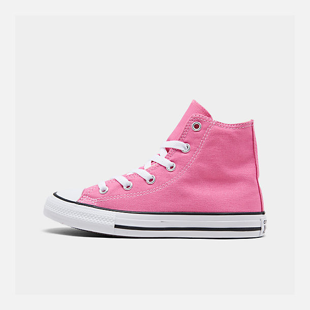 Right view of Girls' Preschool Converse Chuck Taylor High Top Casual Shoes in Pink