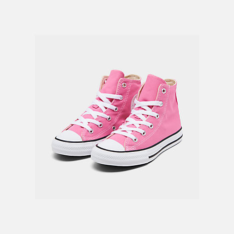 Three Quarter view of Girls' Preschool Converse Chuck Taylor High Top Casual Shoes in Pink