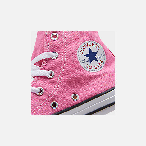 Front view of Girls' Little Kids' Converse Chuck Taylor High Top Casual Shoes in Pink