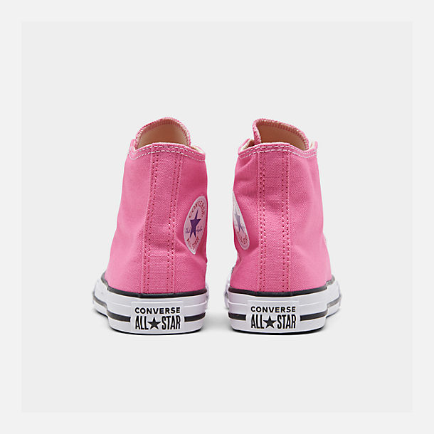 Left view of Girls' Preschool Converse Chuck Taylor High Top Casual Shoes in Pink