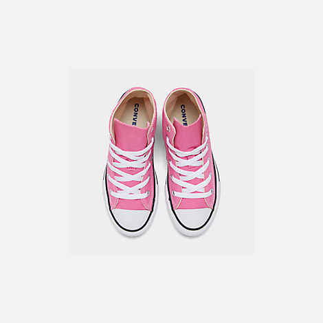 Back view of Girls' Little Kids' Converse Chuck Taylor High Top Casual Shoes in Pink